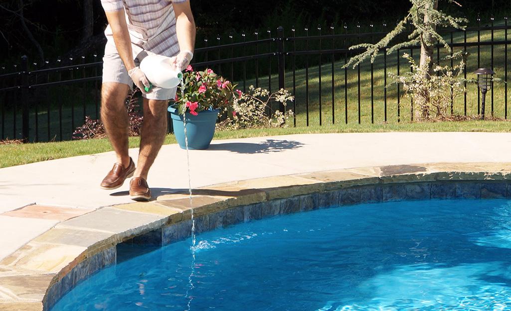 Man treats the pool