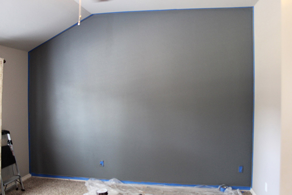A completely painted accent wall.