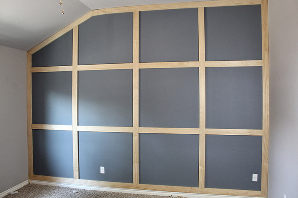 A painted accent wall with trim.