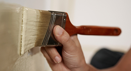 Roll or brush, starting top wall - Paint House Exterior