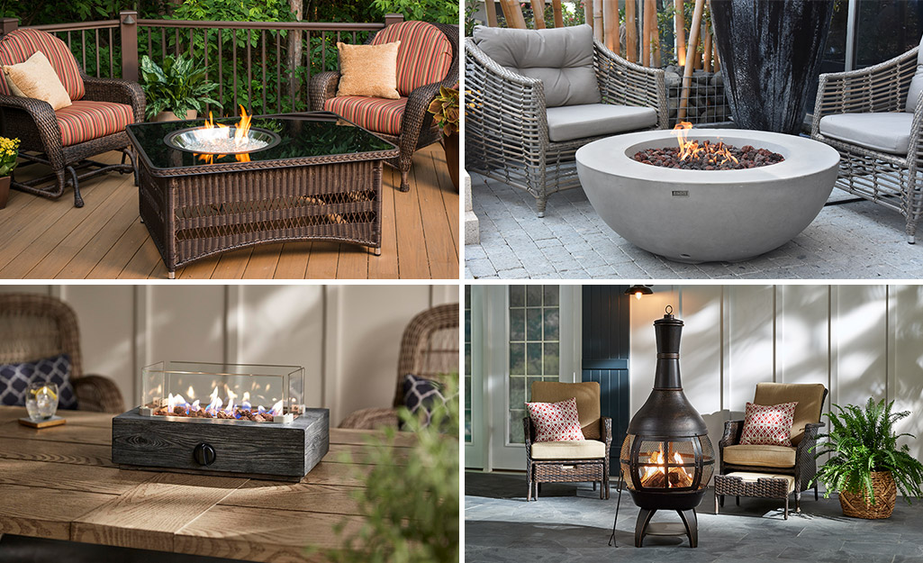 A fire pit table, round fire pit, tabletop fire pit and a chiminea.