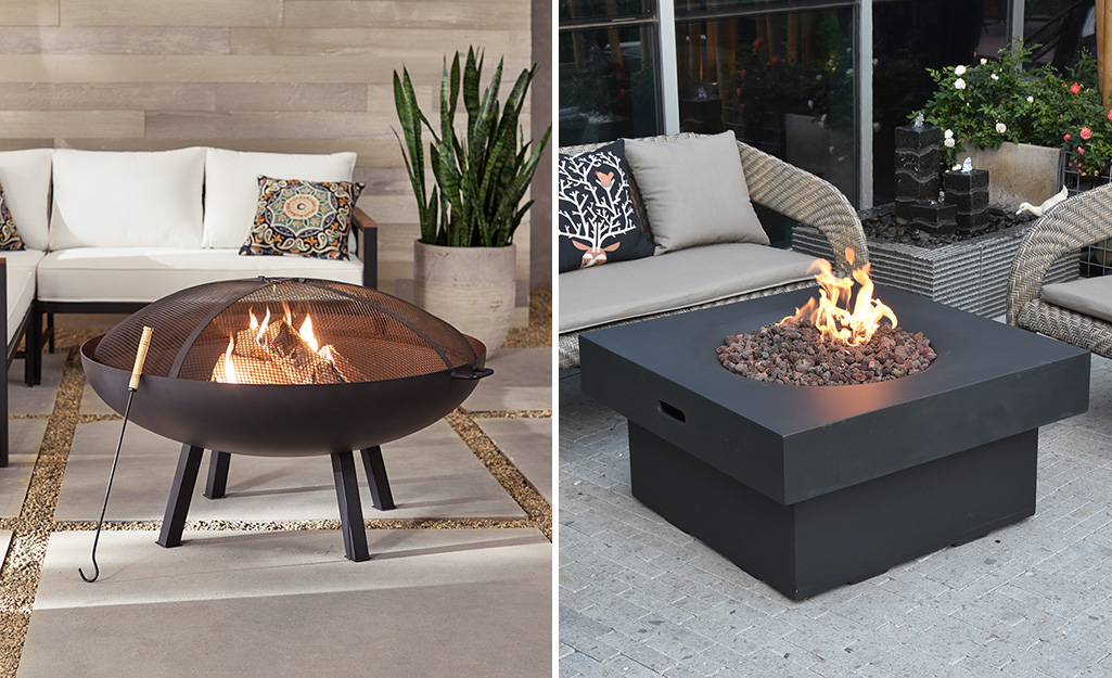A wood-burning fire pit and a gas fire pit.