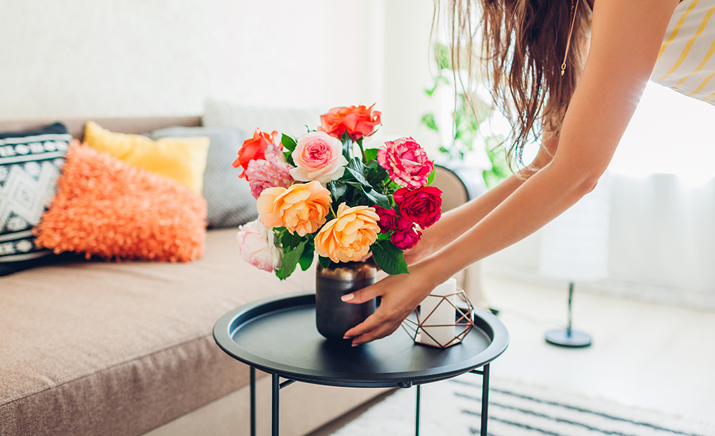 Cut roses in a vase