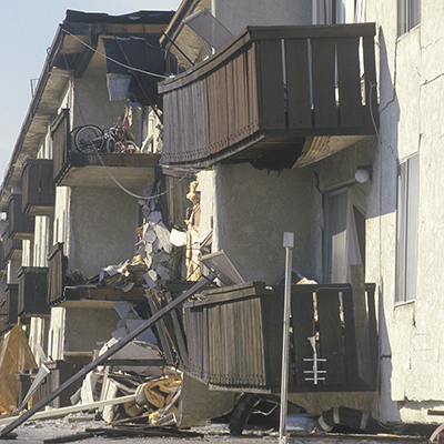 An apartment building damaged by an earthquake.