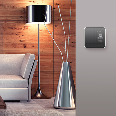 A living area featuring a smart thermostat