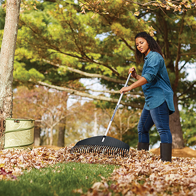 Woman raking leaves on a yard with a large rake.