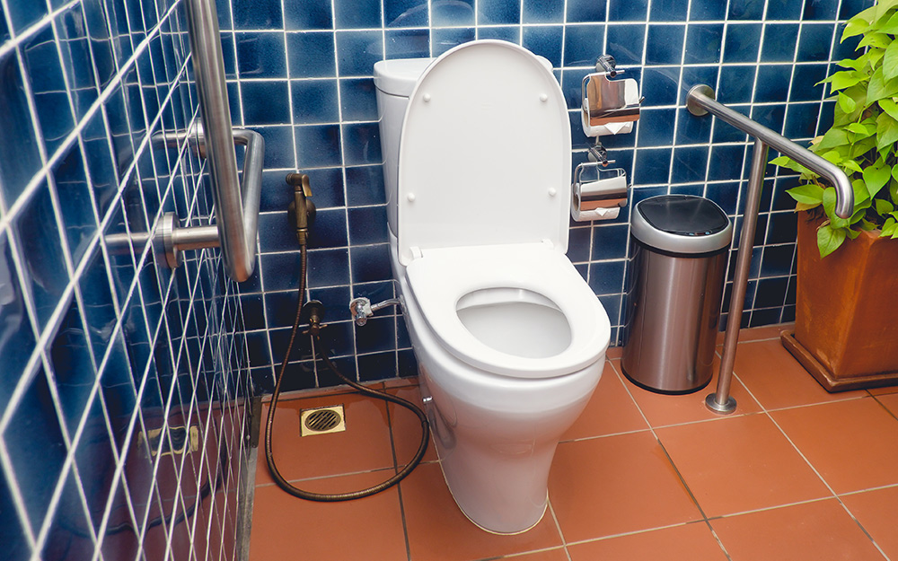 Grab bars are installed around the toilet in a bathroom.