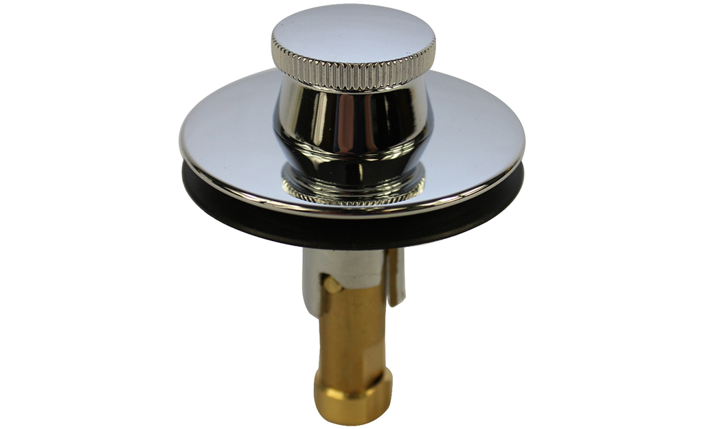 A lift-and-turn bathtub drain stopper against a white background.
