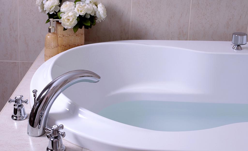 A partially filled bathtub.