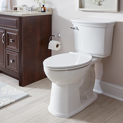 A white toilet in a bathroom setting in a home