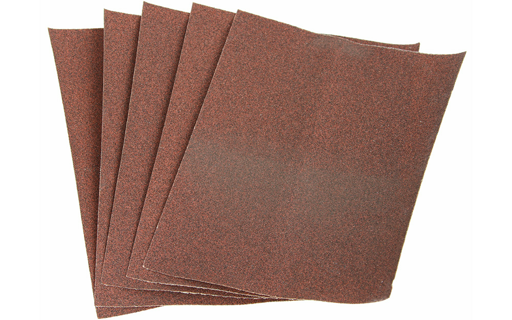 An array of sandpaper on a white background.
