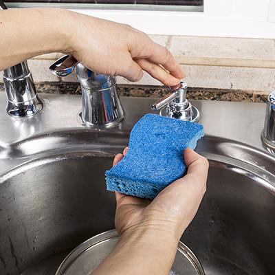 Person adding soap to a sponge.