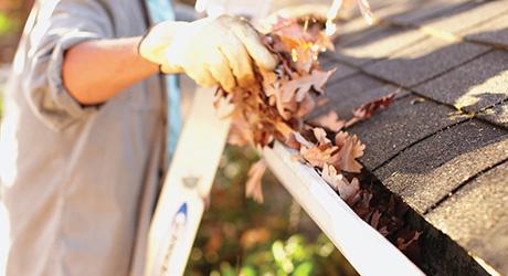 Clean area around leak - Repairing Metal Gutters
