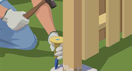 Break up old footing - Repairing  Maintaining Fences and Gates