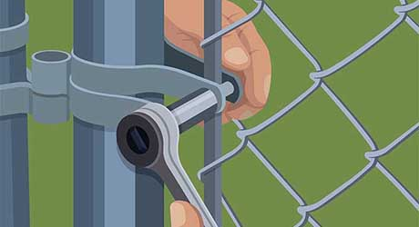 Reattach tension bar - Repairing  Maintaining Fences and Gates