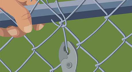 Re-tie patched fencing - Repairing  Maintaining Fences and Gates