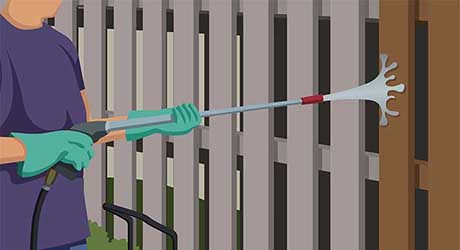 Using  pressure washer - Repairing  Maintaining Fences and Gates