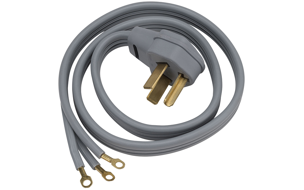 a grey dryer cord on a white background