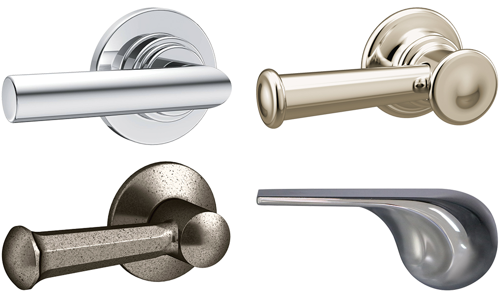 Four different styles and colors of toilet handles.