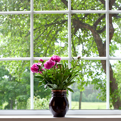 An open double-paned window.