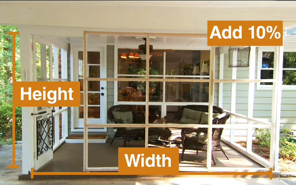Width and height dimensions are indicated for a screened-in porch.