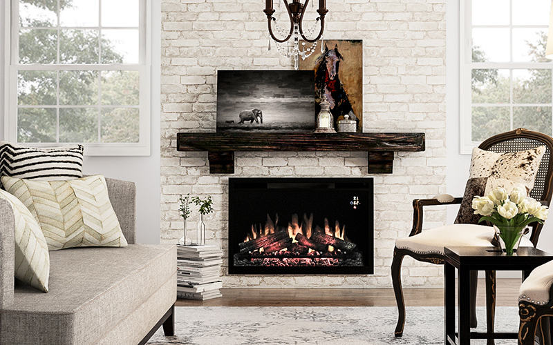 a living room featuring an electric fireplace insert