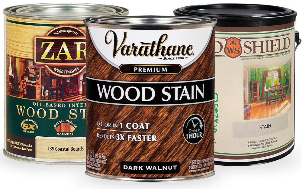 Product photos of cans of wood stain.