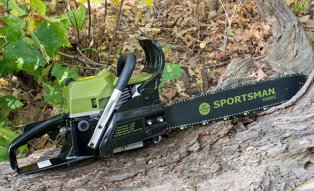 A gas-powered chainsaw sitting on a log.