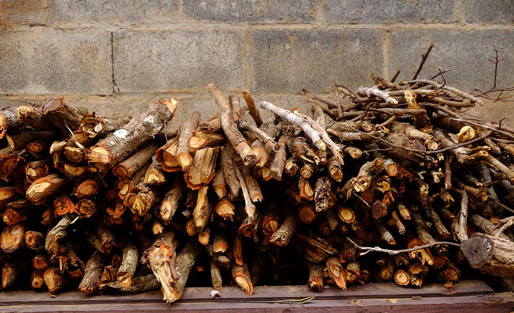 Small twigs and other kindling piled outside.