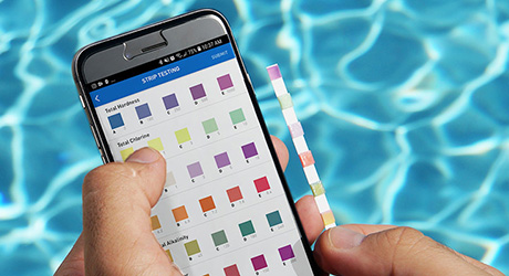 Using pool test strips