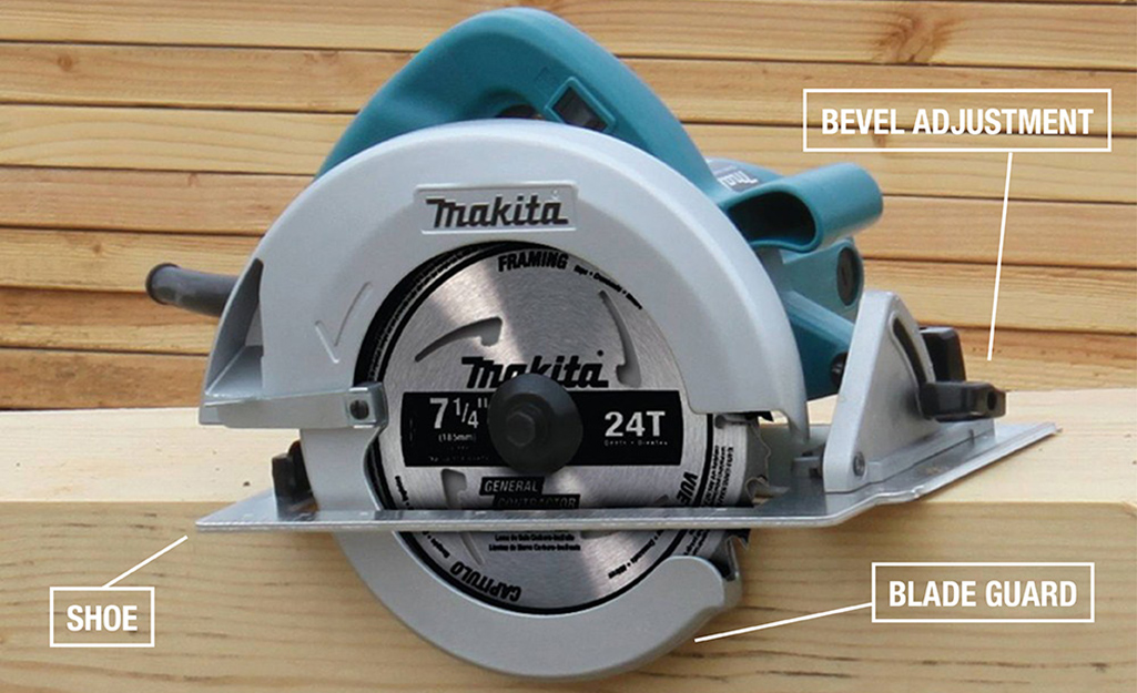 A circular saw with some of its parts identified.