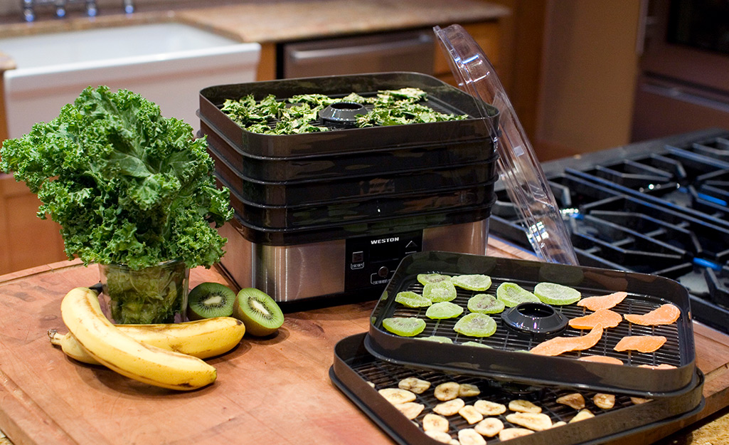 Several dehydrator trays on a counter filled with bananas, kiwi and kale.