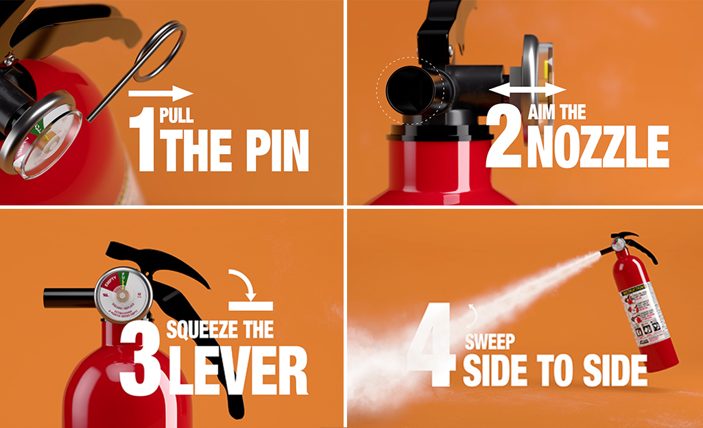 Four steps to using the PASS method with a fire extinguisher.