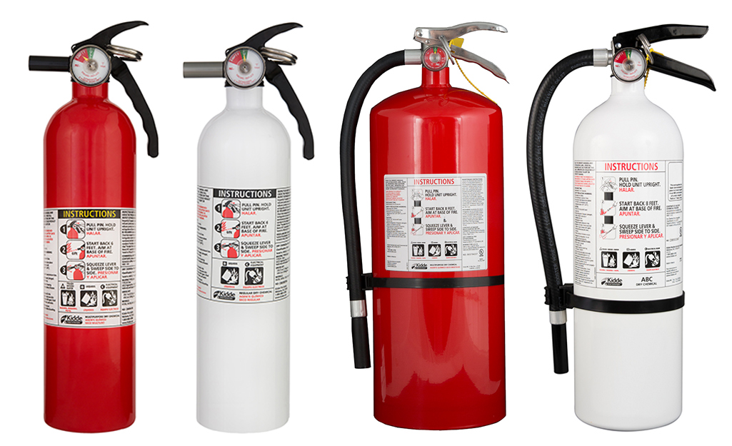 A picture of four types of fire extinguishers, A, B, C and ABC.