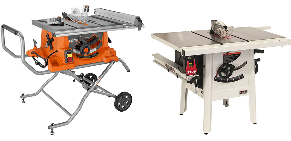 Two different types of table saws.