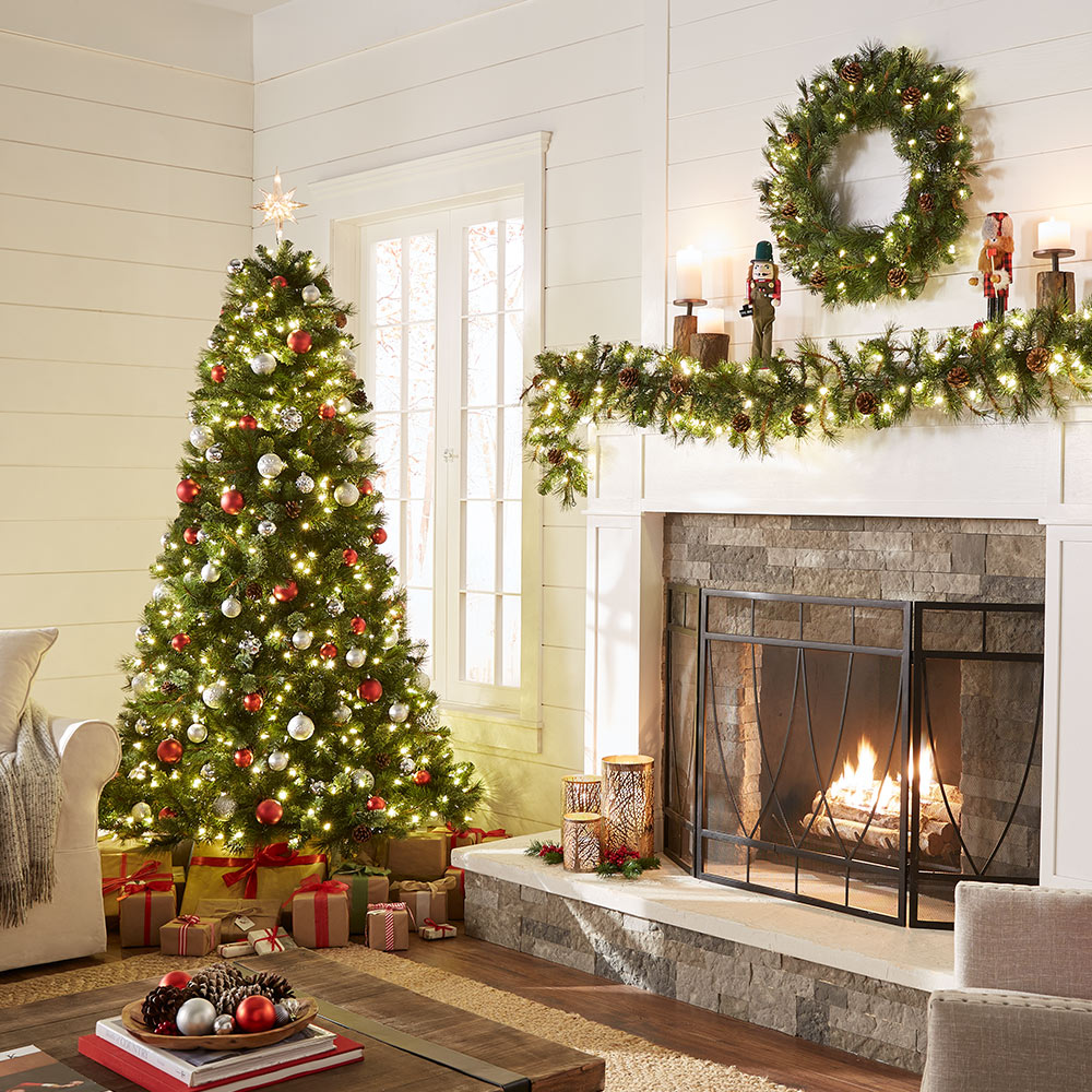 living room featuring a decorated christmas tree