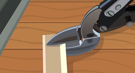 Cut metal tension strips fit door jamb  - Weatherproofing Entry Door