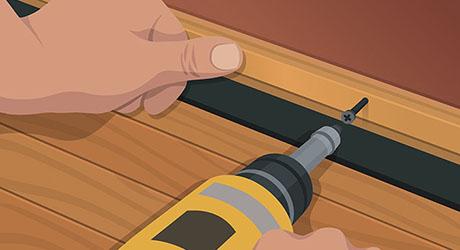 Attach new door bottom with integral sweep - Weatherproofing Entry Door