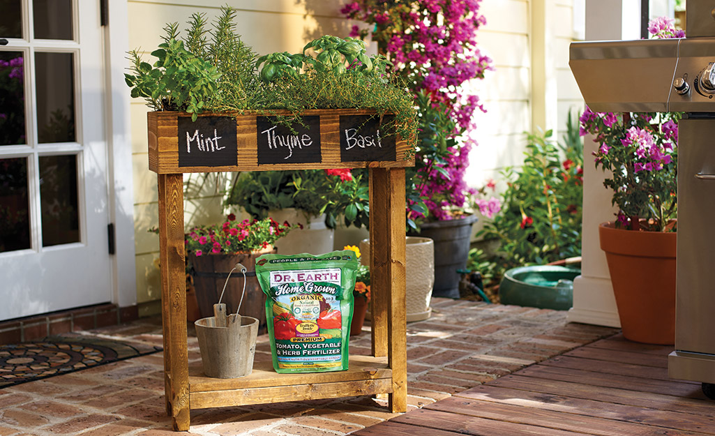 A display of herbs with a bag of fertilizer