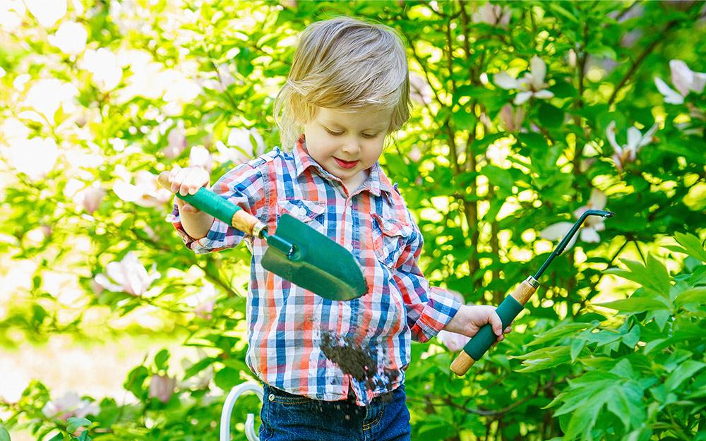 Cậu bé trong vườn dùng bay và dụng cụ làm cỏ