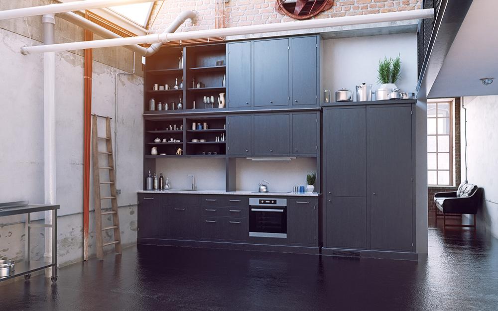 nhà bếp phong cách công nghiệp với điểm nhấn kim loại
