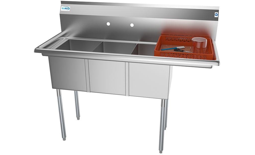 A stainless steel commercial sink.