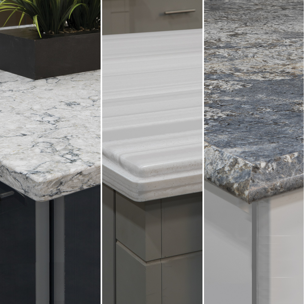 collage of three different countertop edges