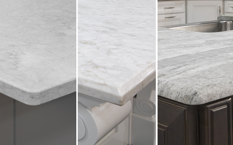 a collage of various types of countertop edges