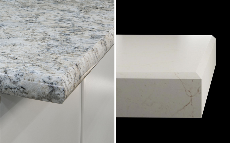 a collage of different types of transitional countertop edges