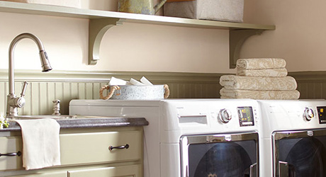 Full Shelves Above A Washer And Dryer Laundry Room Organization