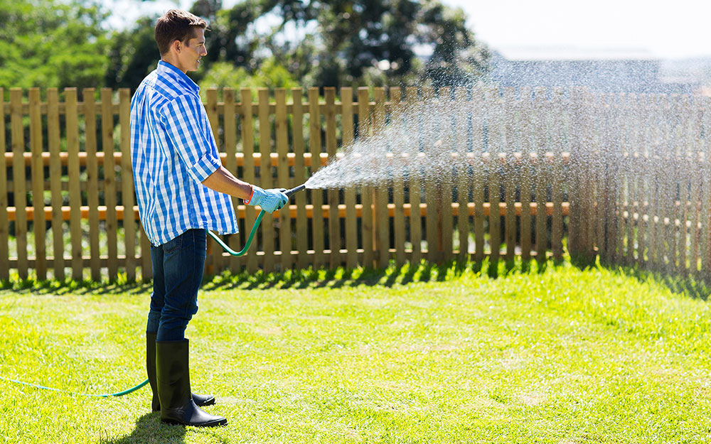 Man watering with a garden hose to care for and maintain a lawn.