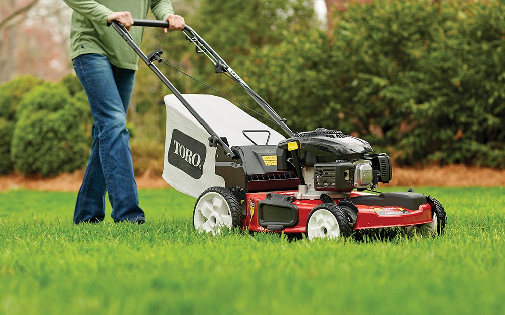 Man mowing a lawn with a lawn mower with a bagger attached.