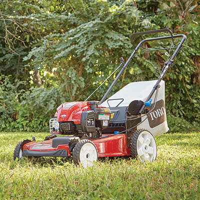 Lawn mower sitting on a lawn.