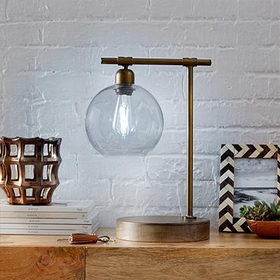 A desk lamp with an LED bulb.